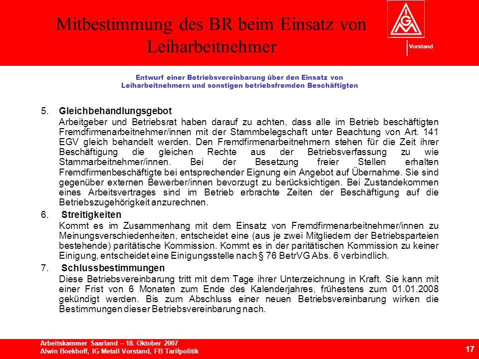 Mitbestimmung des BR beim Einsatz von Leiharbeitnehmer 17 Arbeitskammer Saarland – 18.