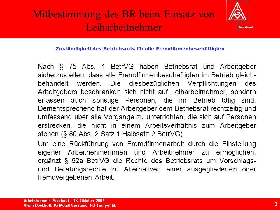 Mitbestimmung des BR beim Einsatz von Leiharbeitnehmer 3 Arbeitskammer Saarland – 18.