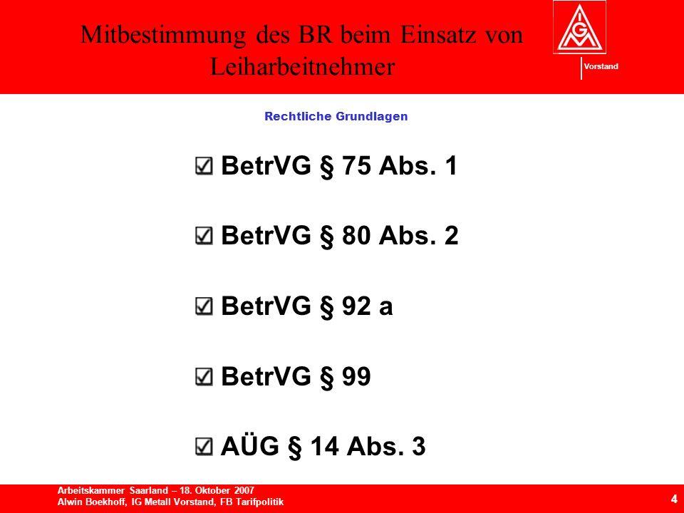 Mitbestimmung des BR beim Einsatz von Leiharbeitnehmer 4 Arbeitskammer Saarland – 18.