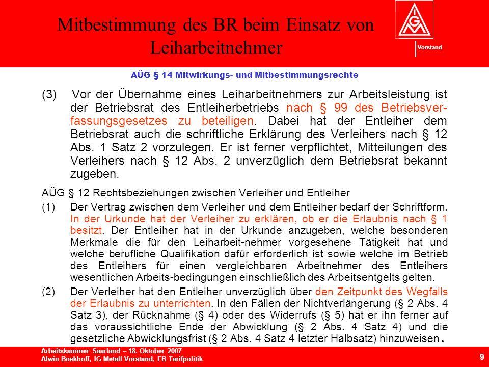 Mitbestimmung des BR beim Einsatz von Leiharbeitnehmer 9 Arbeitskammer Saarland – 18.