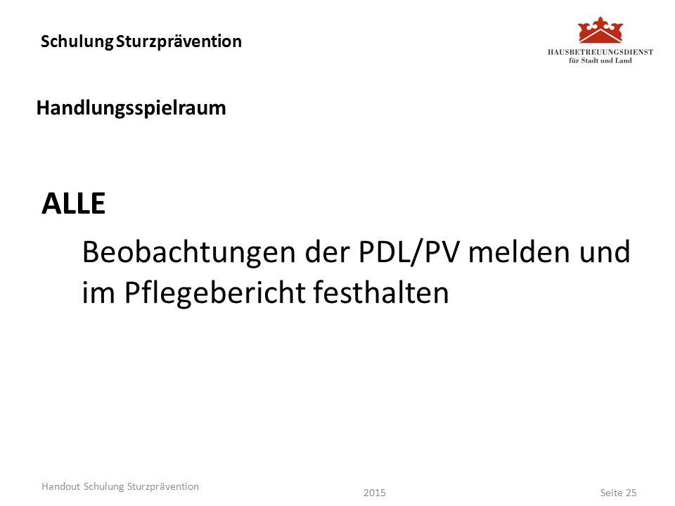 Schulung Sturzprävention ALLE Beobachtungen der PDL/PV melden und im Pflegebericht festhalten Seite 25 Handout Schulung Sturzprävention Handlungsspielraum 2015