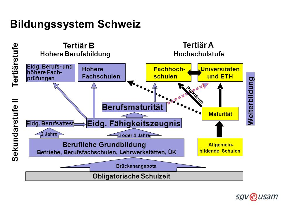 Schweizerischer Gewerbeverband sgv Union suisse des arts et métiers usam Unione svizzera delle arti e mestieri usam Bildungssystem Schweiz Eidg.