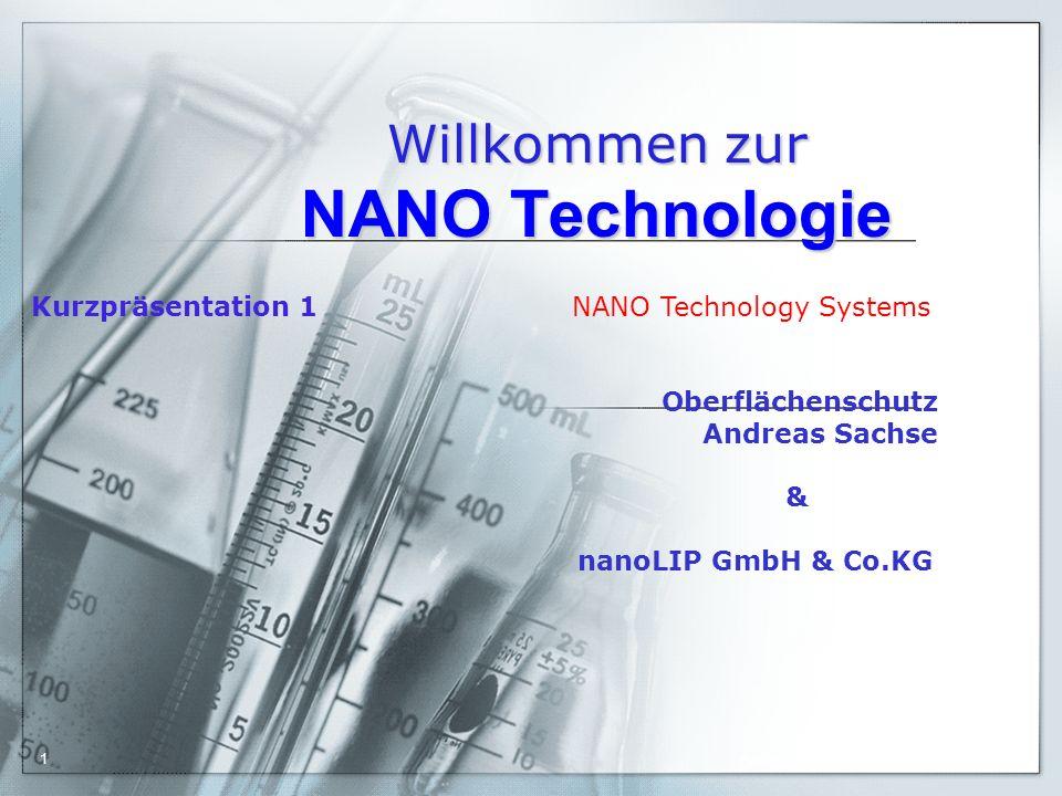 Willkommen zur NANO Technologie Kurzpräsentation 1 NANO Technology Systems Oberflächenschutz Andreas Sachse & nanoLIP GmbH & Co.KG 26.01.2016 Andreas Sachse1