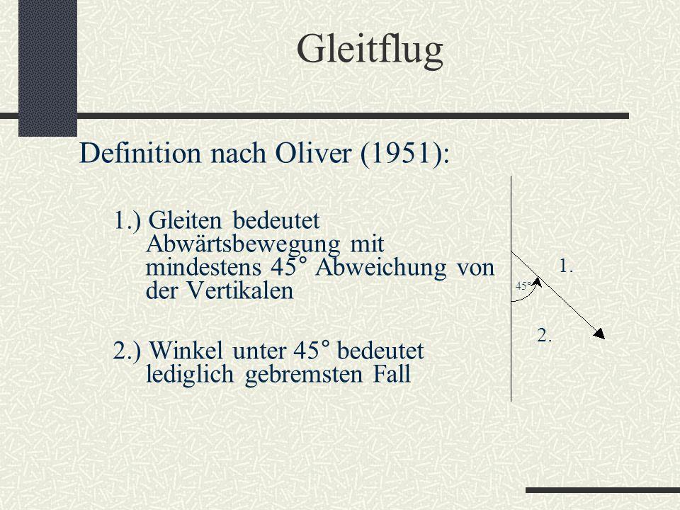 Gleitflug Definition nach Oliver (1951): 1.) Gleiten bedeutet Abwärtsbewegung mit mindestens 45° Abweichung von der Vertikalen 2.) Winkel unter 45° be