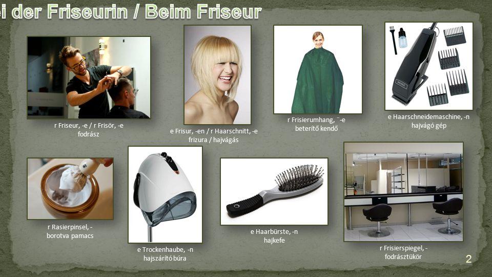 e Trockenhaube, -n hajszárító búra e Haarbürste, -n hajkefe e Frisur, -en / r Haarschnitt, -e frizura / hajvágás r Friseur, -e / r Frisör, -e fodrász