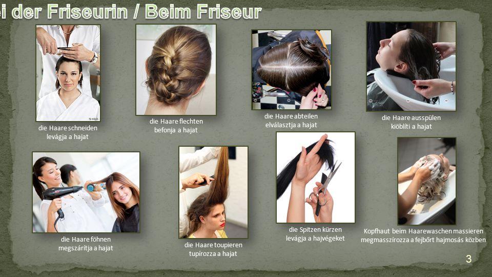 die Haare schneiden levágja a hajat die Haare flechten befonja a hajat die Haare abteilen elválasztja a hajat die Haare ausspülen kiöblíti a hajat die