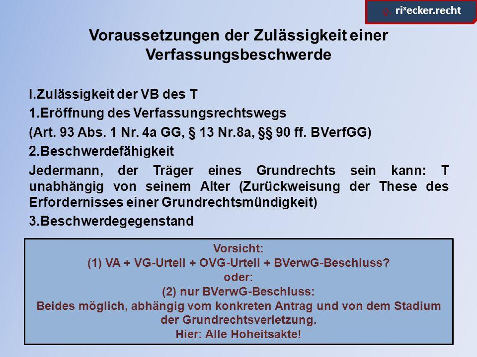 ϱ. ri x ecker.recht Voraussetzungen der Zulässigkeit einer Verfassungsbeschwerde I.Zulässigkeit der VB des T 1.Eröffnung des Verfassungsrechtswegs (Ar
