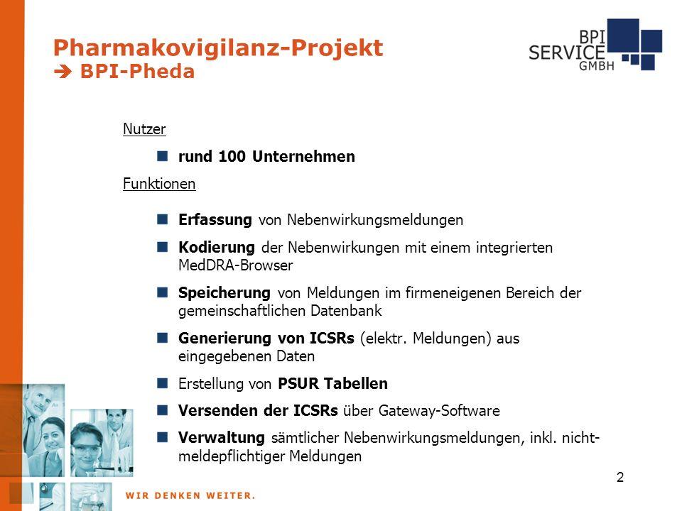 Pharmakovigilanz-Projekt  BPI-Pheda Nutzer rund 100 Unternehmen Funktionen Erfassung von Nebenwirkungsmeldungen Kodierung der Nebenwirkungen mit einem integrierten MedDRA-Browser Speicherung von Meldungen im firmeneigenen Bereich der gemeinschaftlichen Datenbank Generierung von ICSRs (elektr.