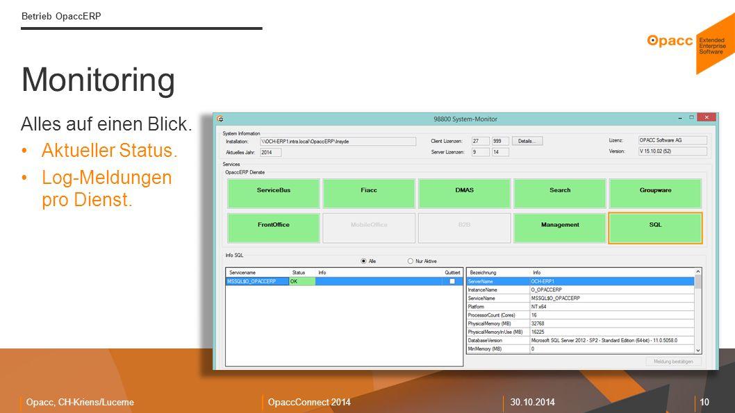 Opacc, CH-Kriens/LucerneOpaccConnect 201430.10.2014 10 Monitoring Betrieb OpaccERP Alles auf einen Blick. Aktueller Status. Log-Meldungen pro Dienst.
