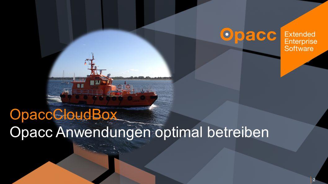 Opacc, CH-Kriens/LucerneOpaccConnect 201430.10.2014 13 Betrieb OpaccERP Alarmierung Opacc Support Opacc Systech Opacc CloudCenter Opacc Monitoring-Agent Hardware, Dienste, SQL, etc.
