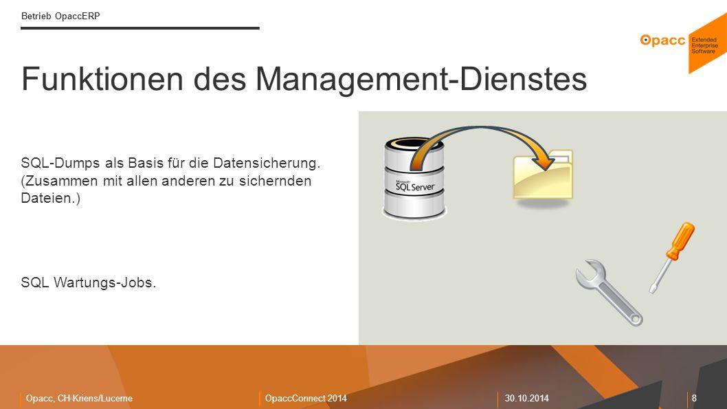 Opacc, CH-Kriens/LucerneOpaccConnect 201430.10.2014 8 Betrieb OpaccERP SQL-Dumps als Basis für die Datensicherung. (Zusammen mit allen anderen zu sich