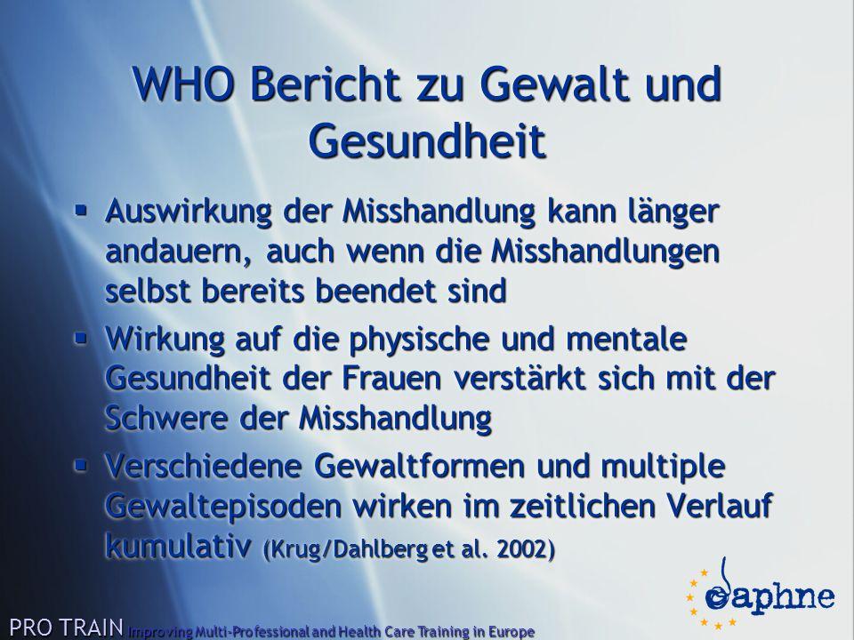 WHO Bericht zu Gewalt und Gesundheit  Auswirkung der Misshandlung kann länger andauern, auch wenn die Misshandlungen selbst bereits beendet sind  Wi