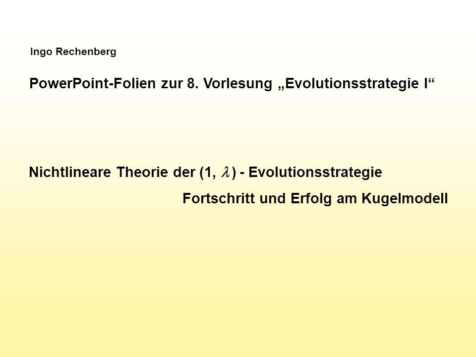 M ATLAB -Programm der (1,  ) ES v=100; kk=10; de=1; xe=ones(v,1); for g=1:1000 qb=1e+20; for k=1:kk if rand < 0.5 dn=de*1.3; else dn=de/1.3; end xn=xe+dn*randn(v,1)/sqrt(v); qn=sum(xn.^2); if qn < qb qb=qn; db=dn; xb=xn; end qe=qb; de=db; xe=xb; semilogy(kk*g,qe, b. ) hold on; drawnow; end Darstellung der Qualität als Funktion des seriellen Aufwands Kinderzahl x Generationen