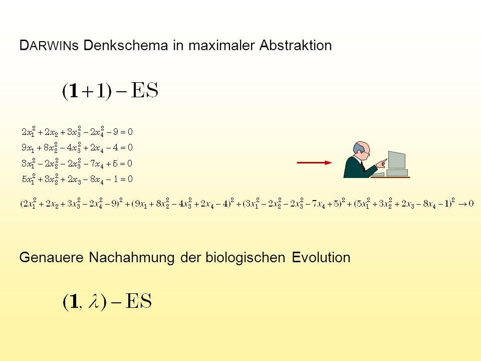 In der Formel ist die Fortschrittsgeschwindigkeit  eine Funktion von der Variablenzahl n, dem Höhenlinien-Krümmungsradius r, der Mutationsstreuung  und der Nachkommenzahl.