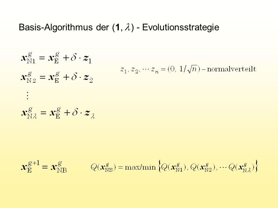 M ATLAB -Programm der (1,  ) ES v=100; kk=10; de=1; xe=ones(v,1); for g=1:1000 end Erzeugen der Generationenschleife