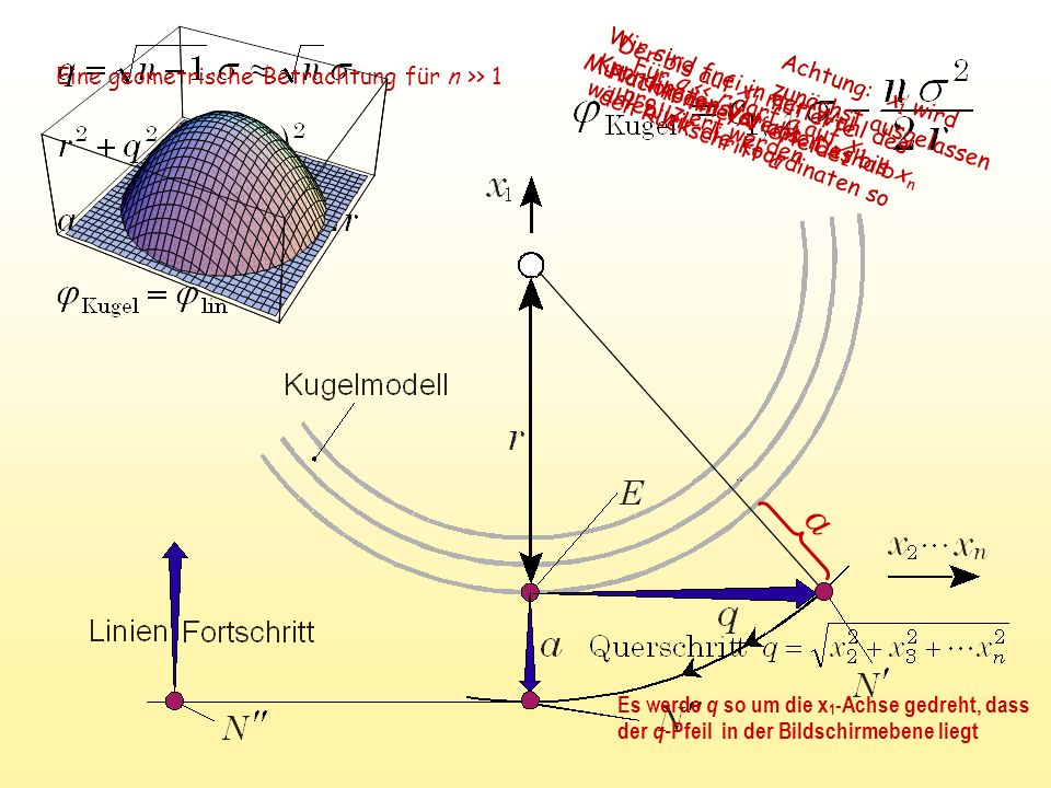a Für q << r darf a auf x 1 projiziert werden Mutation der Variablen x 2 bis x n Der bis auf x 1 mutierte Nachkomme N' erleidet den Rückschritt a Eine geometrische Betrachtung für n >> 1 Es werde q so um die x 1 -Achse gedreht, dass der q- Pfeil in der Bildschirmebene liegt Wir sind frei in der Wahl des Koordinatensystems.