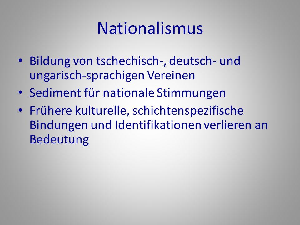 Nationalismus Bildung von tschechisch-, deutsch- und ungarisch-sprachigen Vereinen Sediment für nationale Stimmungen Frühere kulturelle, schichtenspezifische Bindungen und Identifikationen verlieren an Bedeutung