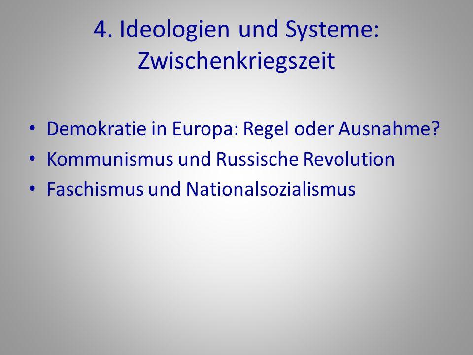 4.Ideologien und Systeme: Zwischenkriegszeit Demokratie in Europa: Regel oder Ausnahme.