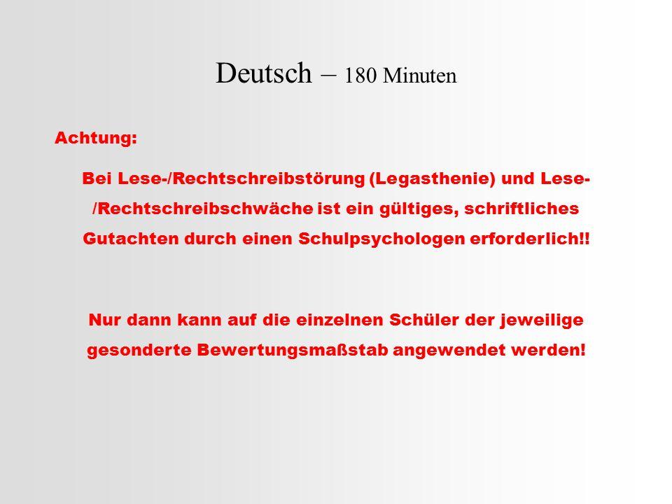 Deutsch – 180 Minuten (Rechtschriftliches Wörterbuch in Teil A und B immer erlaubt) Teil A: Rechtschreibteil (insgesamt.