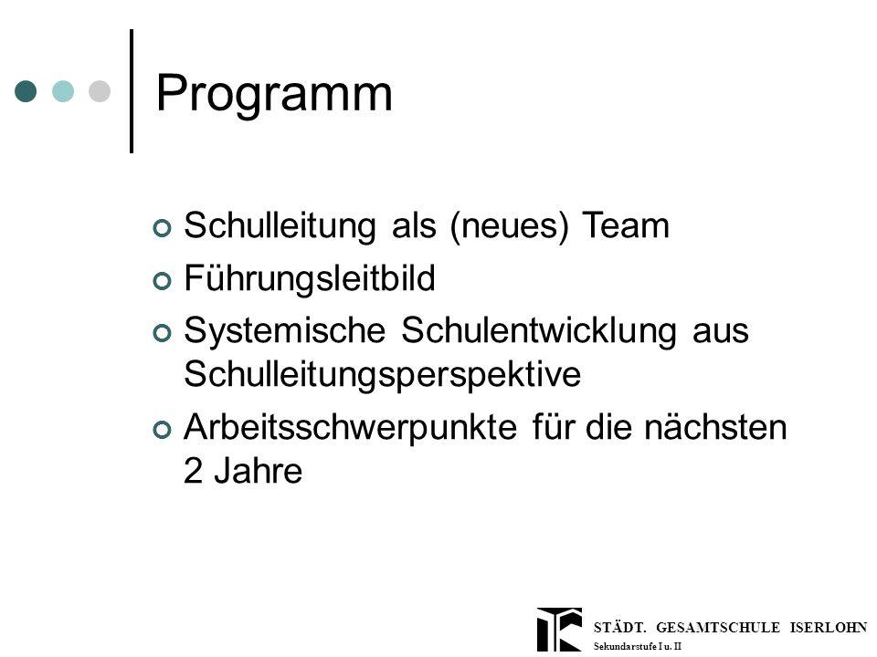 STÄDT. GESAMTSCHULE ISERLOHN Sekundarstufe I u. II Programm Schulleitung als (neues) Team Führungsleitbild Systemische Schulentwicklung aus Schulleitu