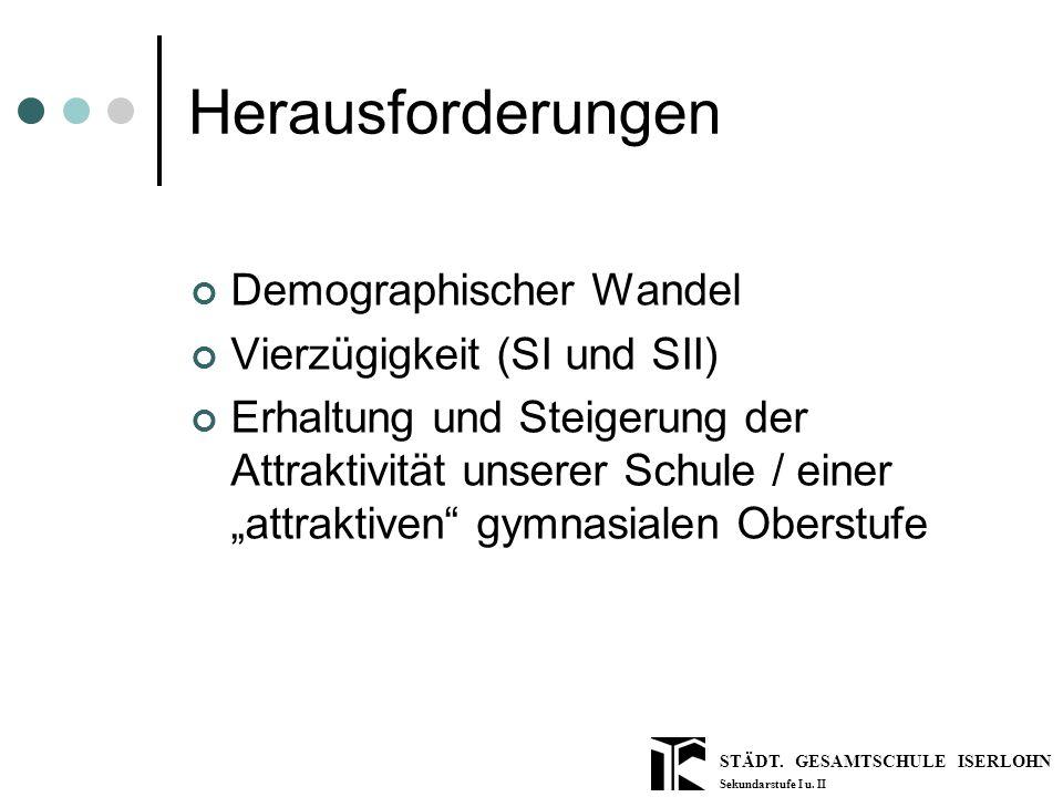 STÄDT. GESAMTSCHULE ISERLOHN Sekundarstufe I u. II Herausforderungen Demographischer Wandel Vierzügigkeit (SI und SII) Erhaltung und Steigerung der At