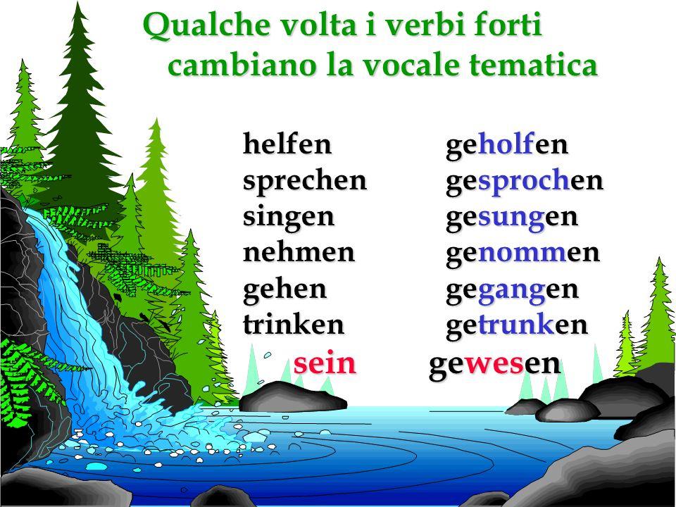 I verbi forti che cambiano la vocale del tema al presente.