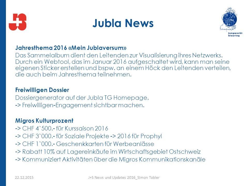 Jubla News Jahresthema 2016 «Mein Jublaversum» Das Sammelalbum dient den Leitenden zur Visualisierung ihres Netzwerks.