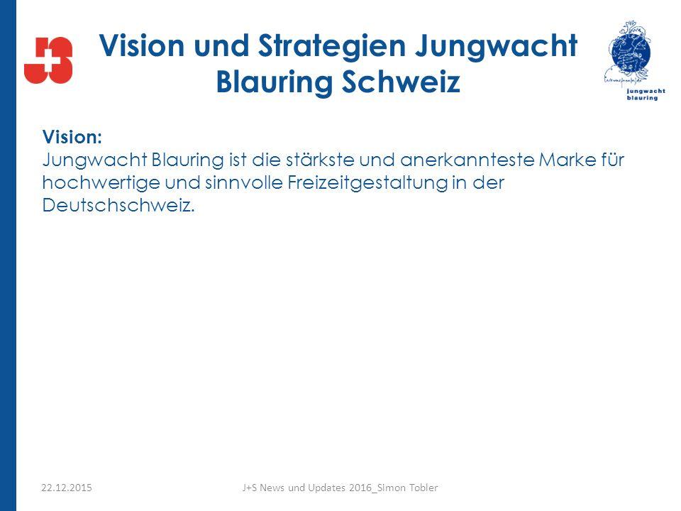 Vision und Strategien Jungwacht Blauring Schweiz Vision: Jungwacht Blauring ist die stärkste und anerkannteste Marke für hochwertige und sinnvolle Freizeitgestaltung in der Deutschschweiz.