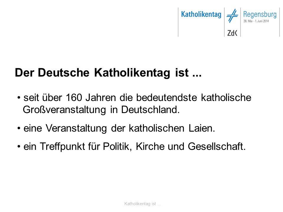 Katholikentag ist... Der Deutsche Katholikentag ist... seit über 160 Jahren die bedeutendste katholische Großveranstaltung in Deutschland. eine Verans