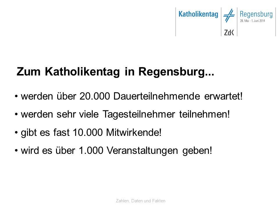 Zahlen, Daten und Fakten Zum Katholikentag in Regensburg... werden über 20.000 Dauerteilnehmende erwartet! werden sehr viele Tagesteilnehmer teilnehme