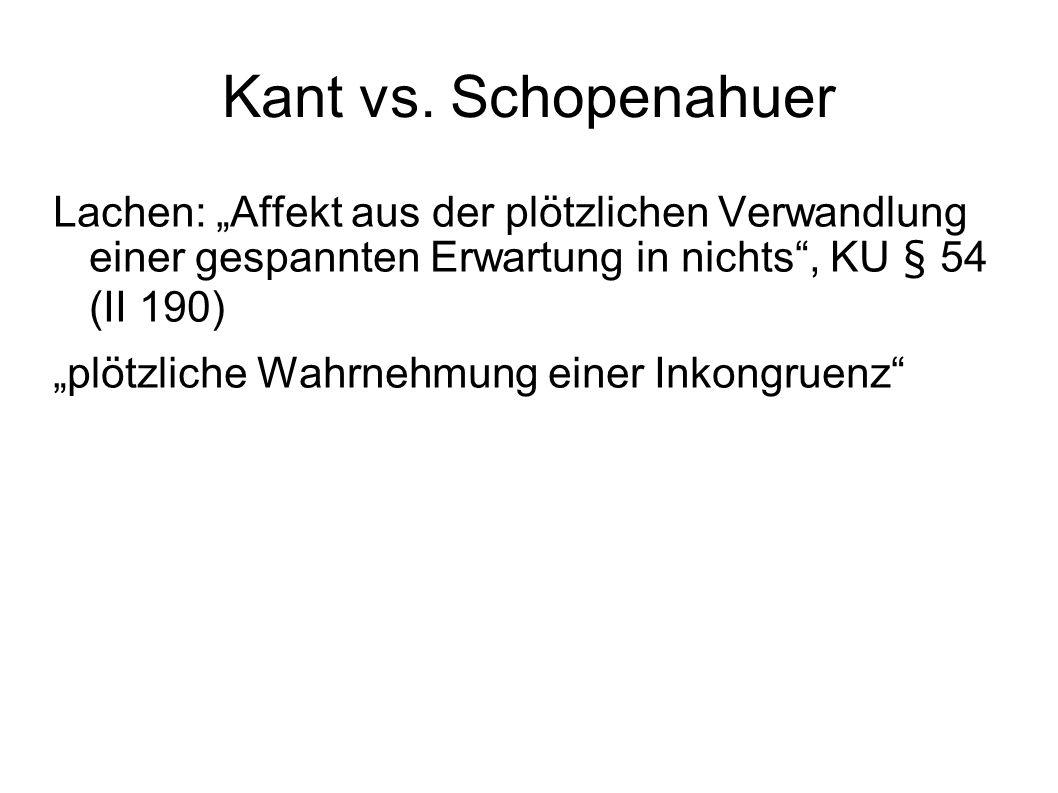 """Kant vs. Schopenahuer Lachen: """"Affekt aus der plötzlichen Verwandlung einer gespannten Erwartung in nichts"""", KU § 54 (II 190) """"plötzliche Wahrnehmung"""