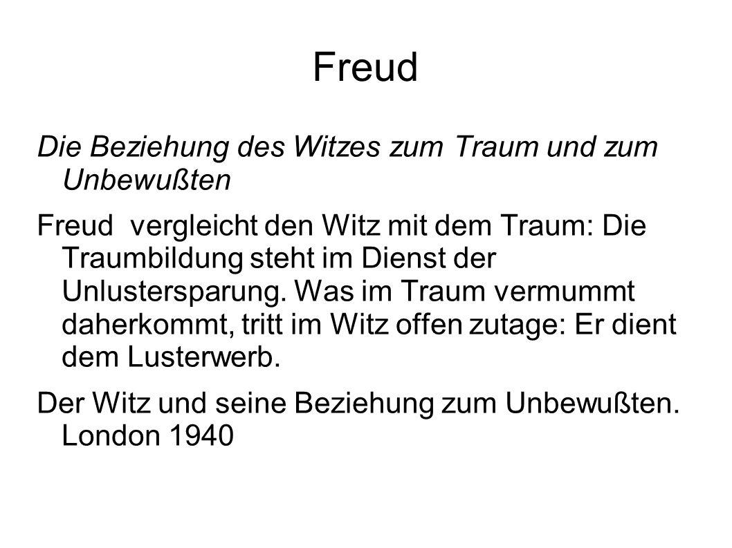 Freud Die Beziehung des Witzes zum Traum und zum Unbewußten Freud vergleicht den Witz mit dem Traum: Die Traumbildung steht im Dienst der Unlusterspar