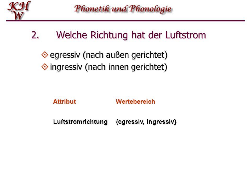 1. Welcher Luftstromprozess wird verwendet?  pulmonisch (Lungenluft)  glottalisch (Kehlkopf nach oben oder unten)  velarisch (vgl. Einsaugen von Fl