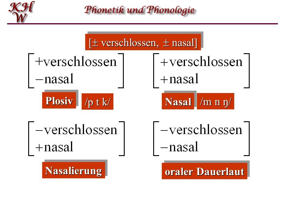 Binäre phonologische Merkmale: Wertebereich Bei diesen binären Merkmalen reduziert sich der Werte- Bereich auf 2 Werte, nämlich ja oder nein, wahr ode