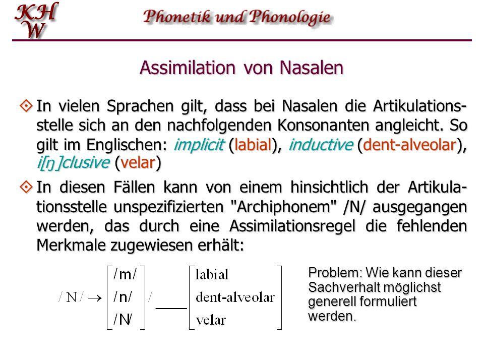 Natürliche Klassen  Die Klasse der Nasalkonsonanten  ist durch die Merkmale [+konsonantisch, +nasal] definiert. Zur Aussonderung von  müs