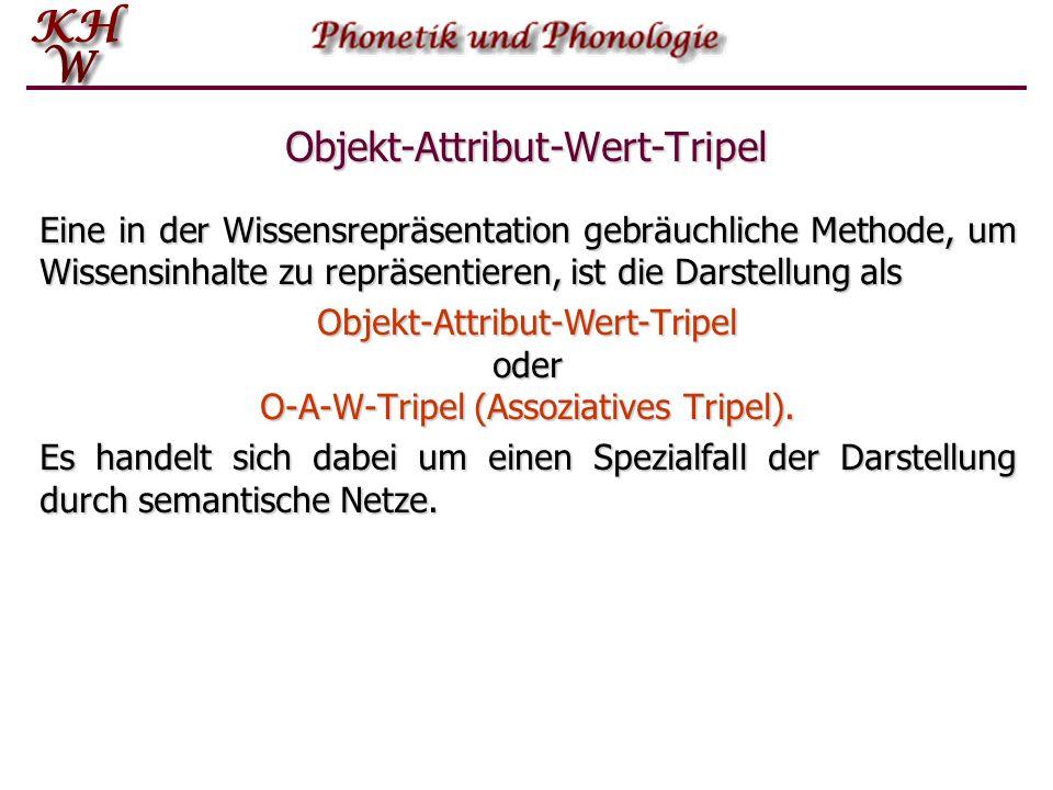 Objekt-Attribut-Wert-Tripel Eine in der Wissensrepräsentation gebräuchliche Methode, um Wissensinhalte zu repräsentieren, ist die Darstellung als Objekt-Attribut-Wert-Tripel oder O-A-W-Tripel (Assoziatives Tripel).
