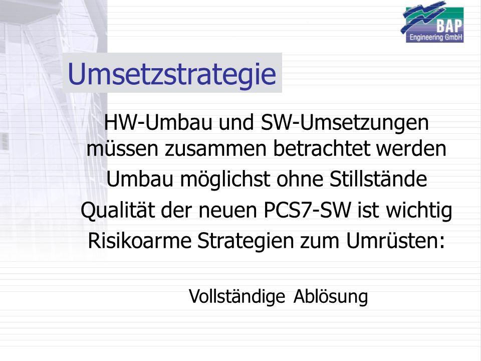Umsetzstrategie HW-Umbau und SW-Umsetzungen müssen zusammen betrachtet werden Umbau möglichst ohne Stillstände Qualität der neuen PCS7-SW ist wichtig Risikoarme Strategien zum Umrüsten: Vollständige Ablösung