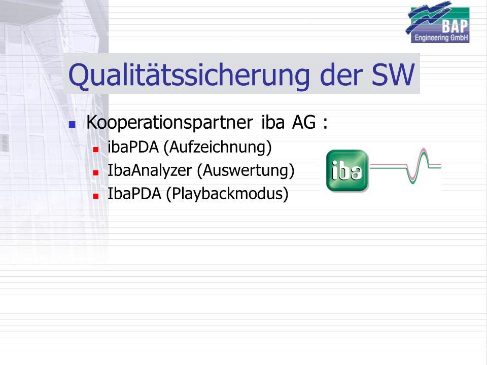 Qualitätssicherung der SW Kooperationspartner iba AG : ibaPDA (Aufzeichnung) IbaAnalyzer (Auswertung) IbaPDA (Playbackmodus)