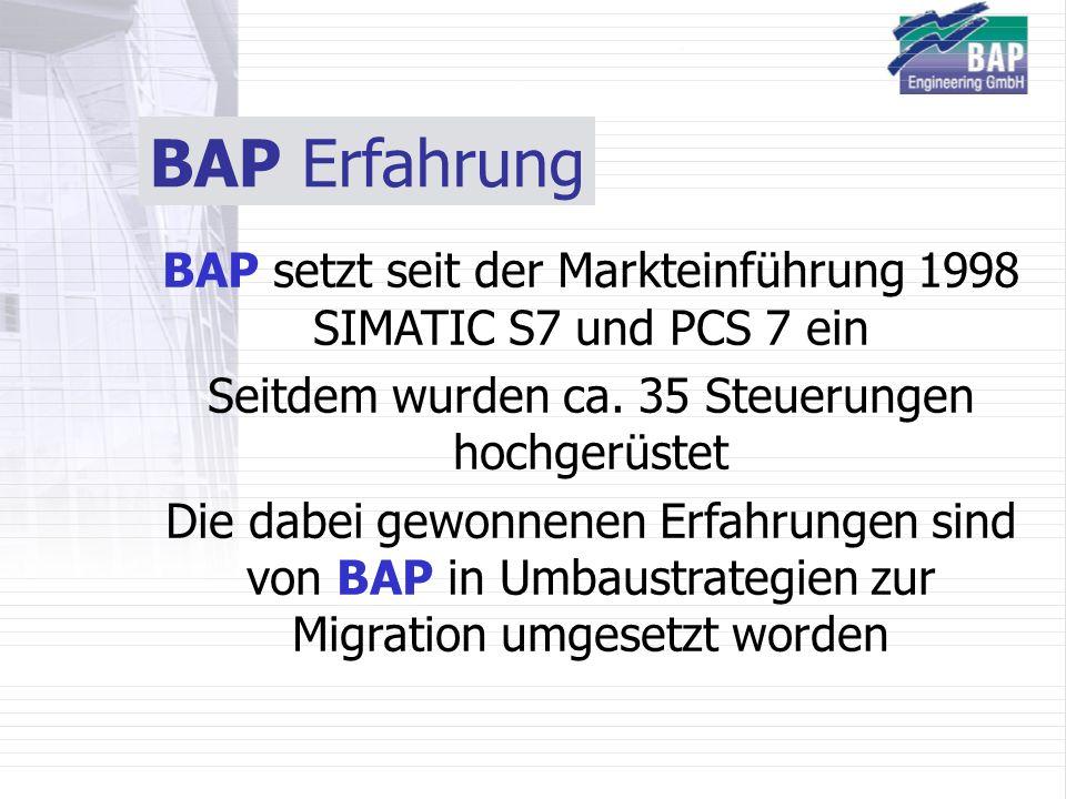 BAP Erfahrung BAP setzt seit der Markteinführung 1998 SIMATIC S7 und PCS 7 ein Seitdem wurden ca. 35 Steuerungen hochgerüstet Die dabei gewonnenen Erf