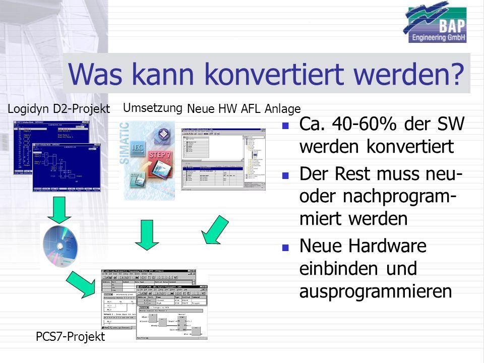 Was kann konvertiert werden? Ca. 40-60% der SW werden konvertiert Der Rest muss neu- oder nachprogram- miert werden Neue Hardware einbinden und auspro