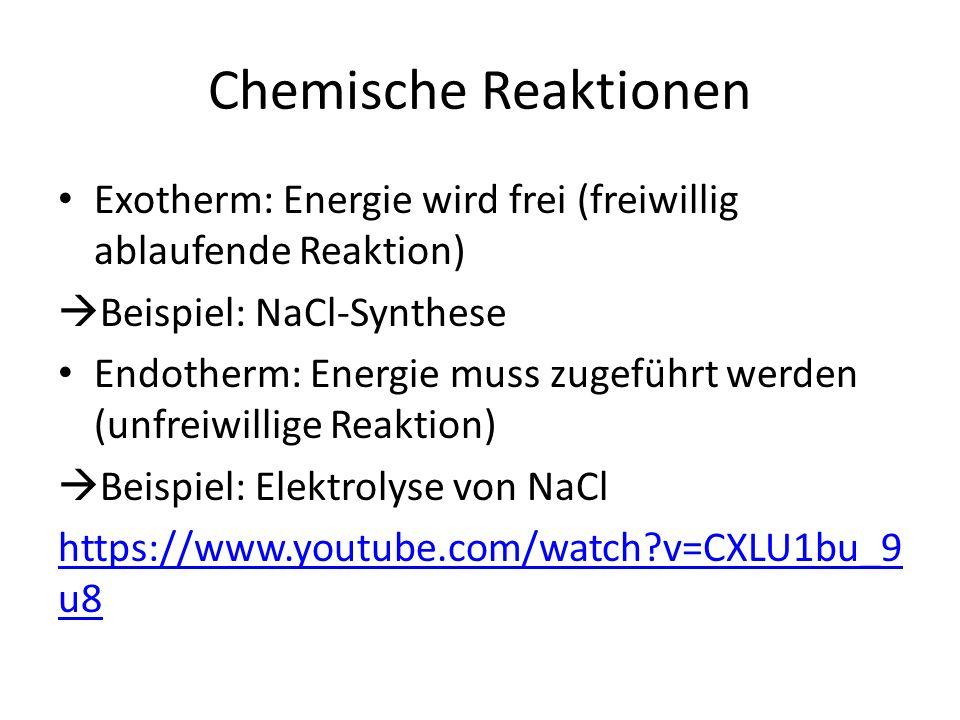 Wir fassen zusammen Redoxreaktion von Metall und Nichtmetall: -Läuft freiwillig ab, da Oktett erreicht wird  Metallatome geben ihre Elektronen ab und werden zu Kationen  Nichtmetallatome nehmen Elektronen auf und werden zu Anionen Elektrolyse: -Läuft unfreiwillig ab, da energiearmer Zustand aufgegeben wird  Kationen nehmen Elektronen auf und werden zu Metallatomen  Anionen geben Elektronen ab und werden zu Nichtmetallatomen