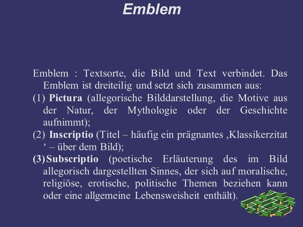 Emblem Emblem : Textsorte, die Bild und Text verbindet.