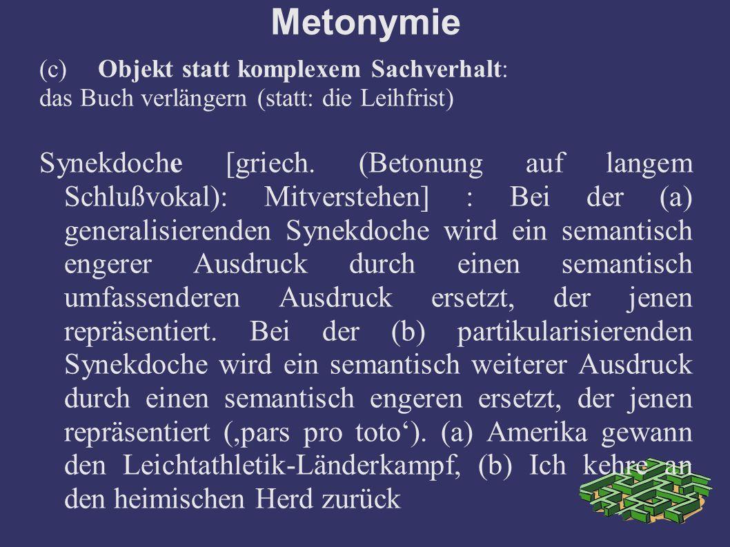 Metonymie (c) Objekt statt komplexem Sachverhalt: das Buch verlängern (statt: die Leihfrist) Synekdoche [griech.