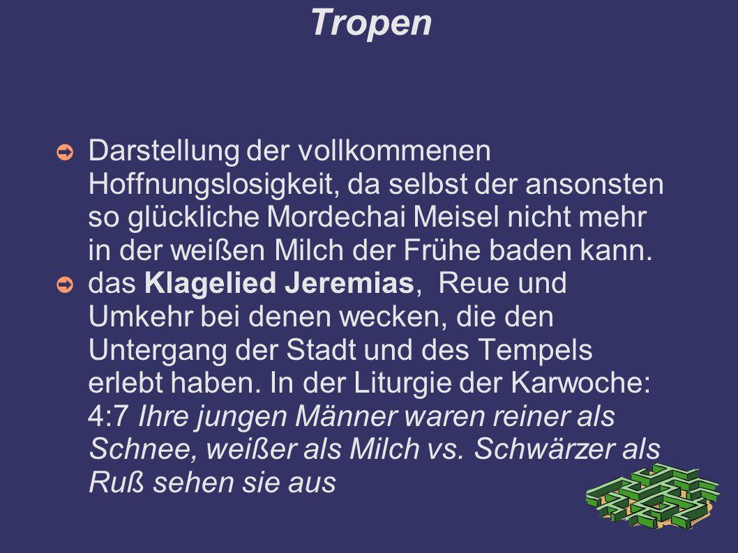 Tropen ➲ Darstellung der vollkommenen Hoffnungslosigkeit, da selbst der ansonsten so glückliche Mordechai Meisel nicht mehr in der weißen Milch der Frühe baden kann.