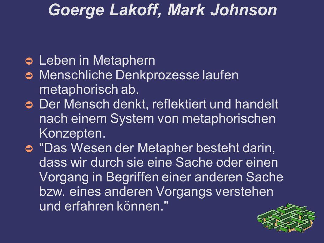 Goerge Lakoff, Mark Johnson ➲ Leben in Metaphern ➲ Menschliche Denkprozesse laufen metaphorisch ab.