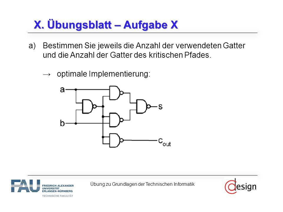X. Übungsblatt – Aufgabe X a)Bestimmen Sie jeweils die Anzahl der verwendeten Gatter und die Anzahl der Gatter des kritischen Pfades. →optimale Implem