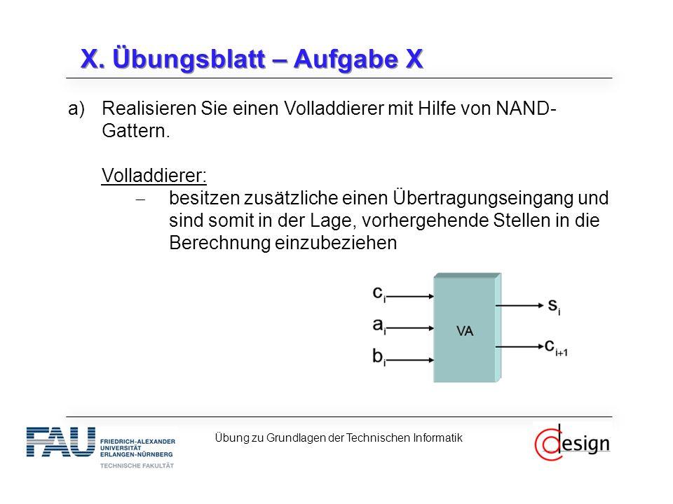 X. Übungsblatt – Aufgabe X a)Realisieren Sie einen Volladdierer mit Hilfe von NAND- Gattern. Volladdierer:  besitzen zusätzliche einen Übertragungsei