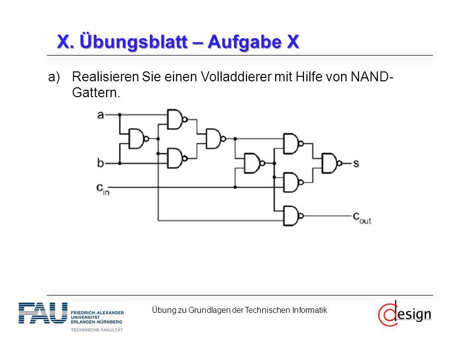 X. Übungsblatt – Aufgabe X a)Realisieren Sie einen Volladdierer mit Hilfe von NAND- Gattern. Übung zu Grundlagen der Technischen Informatik