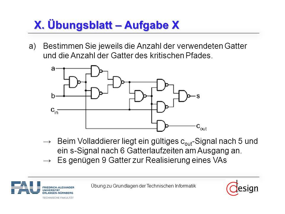 X. Übungsblatt – Aufgabe X a)Bestimmen Sie jeweils die Anzahl der verwendeten Gatter und die Anzahl der Gatter des kritischen Pfades. →Beim Volladdier