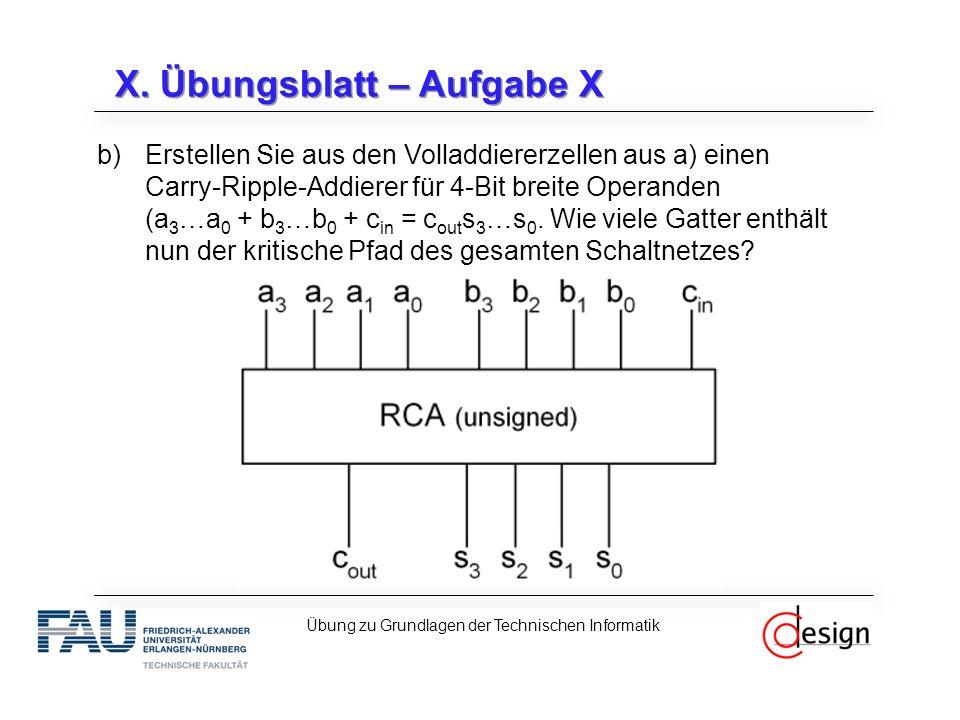 X. Übungsblatt – Aufgabe X b)Erstellen Sie aus den Volladdiererzellen aus a) einen Carry-Ripple-Addierer für 4-Bit breite Operanden (a 3 …a 0 + b 3 …b